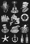 Nautical Adventure Set. Sea Lighthouse, Mermaid And Marine Captain, Octopus And Shipping Sail, Old S poster