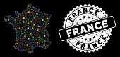 Bright Mesh France Map With Glow Effect, And Seal. Wire Carcass Polygonal France Map Network In Vect poster
