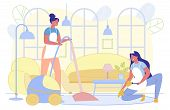 Cleaning Company Woman Workers Cleaning Dust And Vacuumimg Floor In House Living Room Flat Cartoon V poster