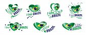 National Flag Of The Brazil In The Shape Of A Heart And The Inscription I Love Brazil. Vector Illust poster
