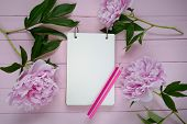 Peony Flowers. Spring Flat Lay.floral Mockup.spring To Do List.blank Notebook, Pink Peony Flowers An poster