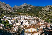 View Of Grazalema, Village Located On The Route Of The White Villages In The Province Of Cadiz, Anda poster