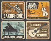 Saxophone And Guitar, Classic Piano And Violin Musical Instruments, Retro Vector. Music Notes Silhou poster