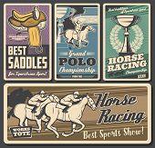 Horse Racing, Polo. Equestrian Sport Retro Vector Cards. Riding Club, Equestrian Sport Racehorse. Jo poster