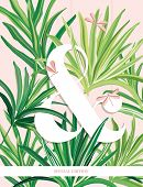 Fresh Palm Leaves Bundle Of Tropical Banana Leaves Realistic Hand Drawn On Pink  Background. Set Of  poster