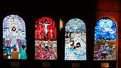 stock photo of stained glass  - Church stained glass window panes - JPG