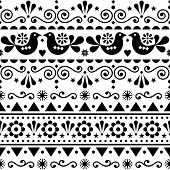 Scandinavian Seamless Vector Pattern Folk Art Style, Repetitive Cute Nordic Design With Birds In Bla poster