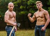 Athletic Man Use Ax. Men With Muscular Torso. Wild Masculinity. Brotherhood Concept. Strength And Pe poster