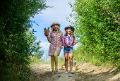 Girls With Gardening Tools. Agriculture Concept. Adorable Girls In Hats Going Planting Plants. Siste poster