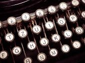Vintage Fashioned Typewriting Machine. Conceptual Image Publishing, Blogging, Author Or Writing. poster