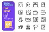 Kitchen Appliances Line Icons Set Vector Illustration. Collection Consista Of Meat Grinder Boiler Mu poster