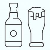 Beer Bottle And Glass Thin Line Icon. Bottle And Glass Of Beer Vector Illustration Isolated On White poster