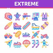 Extreme Sport Activity Collection Icons Set Vector Thin Line. Bike And Crash Helmet, Parachute And H poster