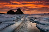 Shaman Rock Or Cape Burhan On Olkhon In The Winter. Lake Baikal, Siberia, Russia poster