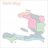 Haiti Hand-drawn Map. Colourful Sketchy Country Outline. Vector Illustration. poster