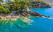 Rocky Coast In Camogli, Italy. A Bird-eye View On Adriatic Seaside, Liguria. poster