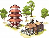 Japanese pagoda, the blacksmith and some isolated trees