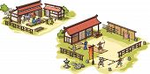 picture of shogun  - There are isolated Japanese traditional medieval samurai training camp and the stables - JPG
