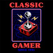 Old School Vintage Joystick For Play Retro Video Classic Game Gamer Arcade. Print Design Vector Illu poster