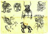 pic of minotaur  - black and white hand drawings of mythological characters - JPG