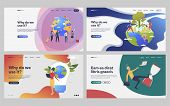 Set Of People Helping Ecology. Flat Vector Illustrations Of People Creating International Project. E poster