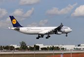 Lufthansa Longhaul Flight Landing At Miami International