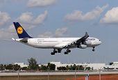 Lufthansa Longhaul Flight Landing At Miami International