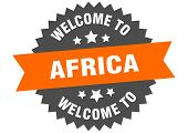 Africa Sign. Welcome To Africa Orange Sticker poster