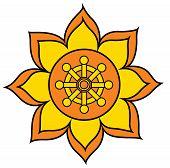 Chakra Buddhism Wheel Of Dharma Yellow Illustration Flower poster