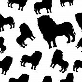 Seamless Pattern With Black Silhouette Of A Lion With A Beautiful Mane And Tail On A White Isolated  poster
