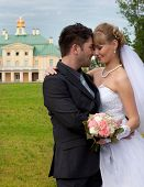 groom and the bride at Menshikov's palace in Lomonosov