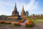 Morning At Ancient Mortars Of The Buddhist Temple Of Wat Sa Si. Historical Park Of The Sukhothai, Th poster