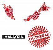 Outbreak Mosaic Malaysia Map And Red Rubber Stamp Seal With Outbreak Phrase. Malaysia Map Collage Cr poster
