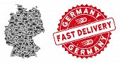 Delivery Collage Germany Map And Distressed Stamp Seal With Fast Delivery Phrase. Germany Map Collag poster