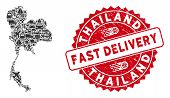 Delivery Collage Thailand Map And Grunge Stamp Seal With Fast Delivery Badge. Thailand Map Collage F poster