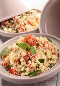 stock photo of tagine  - tagine with couscous and vegetables - JPG