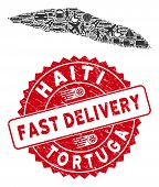 Deliver Collage Tortuga Island Of Haiti Map And Rubber Stamp Watermark With Fast Delivery Caption. T poster