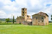 Parish Church Of St John The Baptist Near Sovicille (si) In Tuscany, Italy, In Springtime poster