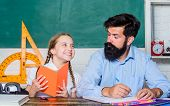 Lesson Is Finished. Discipline Upbringing. Man Bearded Pedagogue Study Together With Kid. Study Is F poster