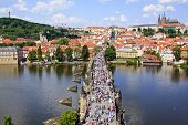 View of Prague, Charles bridge, Vltava river, St. Vitus cathedral