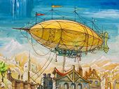 stock photo of masterpiece  - The oil painting with the airship flying above the old - JPG