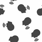 Vector Icon Voice Command, Man Talking. Sound Voice Seamless Pattern On A White Background. poster