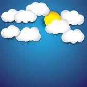Vector fondo abstracto blanco papel nubes & el sol