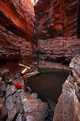 Man Swimming In Water Hole Deep In Gorge