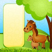 picture of horses ass  - vector illustration of mother and baby horse - JPG