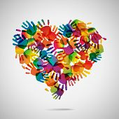 stock photo of finger  - Colored heart from hand print icons - JPG