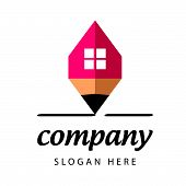 vector icon stylized red pencil house brand building company