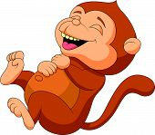 picture of chimp  - Vector illustration of Cute monkey cartoon laughing - JPG