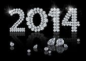 foto of gem  - Brilliant New Year 2014 is a diamond jewelry illustration on a black background - JPG