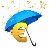 stock photo of troika  - Golden eurosymbol with golden stars and blue umbrella - JPG